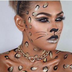 Cheetah halloween makeup. Amazing work by @dajanamakeup on @alexandrajoner glo minerals Contour Kit Medium to Dark
