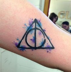 deathly hallow tattoo, watercolor tattoo