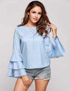 Blue Ruffle Sleeve O-Neck Long Tops