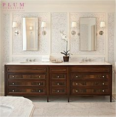 dark stained bathroom vanity