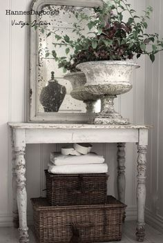 Vintage Table with baskets for Entry