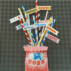 Striped and Polka Dot Straws: Circus with DIY Flags
