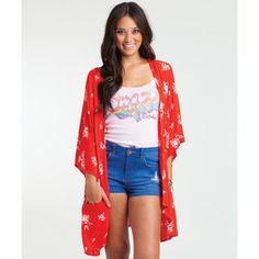 Billabong shadow play cardigan in red