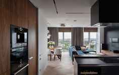 #kitchen | Two Apartments Become One with Views of the Dnipro River - Design Milk