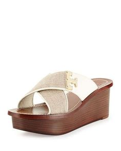 X2MQ3 Tory Burch Culver Linen Crisscross Wedge, Natural/Ivory
