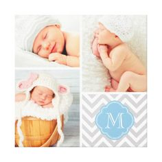 Chevron Monogram Baby Photo Collage Nursery Art Gallery Wrapped Canvas