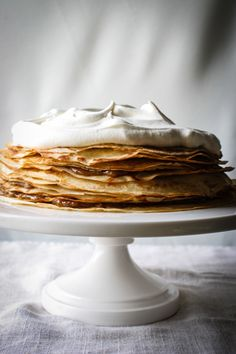 A lovely twist on the New Orleans classic dessert: Bananas Foster Crepe Cake | for the love of the south