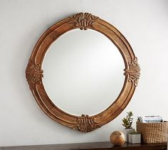 The wood frame of the Mendosa Round Wood Mirror is ornately carved for a vintage look. It's an artisanal art piece for an entry, over a console or in a bedroom. Oversized Round Mirror, Round Wood Mirror, Round Mirrors, Large Mirrors, Decorative Mirrors, Antique Mirrors, Foyer Furniture, Outdoor Furniture, How To Clean Mirrors