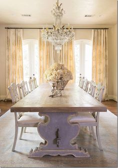 Custom Italian Trestle Tables I would do different draperies to pull colors together