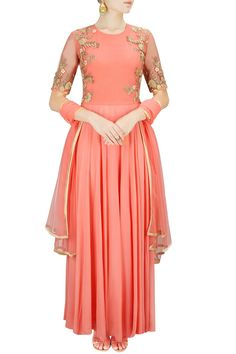 Peach floral embroidered anarkali set available only at Pernia's Pop-Up Shop.
