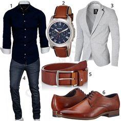 Business-Style mit Jeans, Uhr, Sakko und Hemd (m0917)