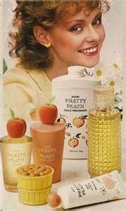 Avon Pretty Peach  - my first 'Grown Up' bath set, I had the bubble bath, talc & body cream