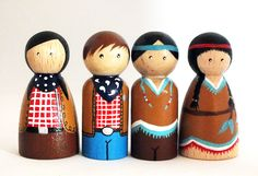 Cowgirl, Cowboy, Native Americans, peg dolls, wooden toys, peg people, cake toppers, cowboy birthday party, party bags, christmas gift by PeggiesPegDolls on Etsy https://www.etsy.com/listing/476570221/cowgirl-cowboy-native-americans-peg