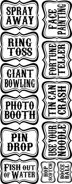 16 DIY Carnival Games For Your Next Big Bash! free carnival signs and printables Carnival Signs, Diy Carnival Games, Circus Carnival Party, Spring Carnival, Kids Carnival, Circus Theme Party, Carnival Birthday Parties, Carnival Themes, Circus Birthday