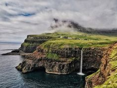 Gasaladur Waterfall Faroe Islands (by Dani Lazar) >> Check out our site at deftnomad.com for travel hacks and tips.