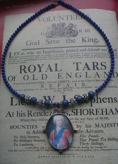 Miniature Portrait Pendant sterling silver portrait Lapis Lazuli, Gentlemen Wear, Miniature Portraits, King And Country, Lockets, Beaded Necklace, Miniatures, Gift Ideas, Sterling Silver