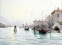 Joseph Zbukvic : is one of the finest master watercolor painters in the world; his watercolor painting instruction workshops sell out w. Watercolor Water, Watercolor Landscape, Watercolor Pictures, Watercolor Paintings, Watercolours, Joseph Zbukvic, Artist Painting, Kitsch, Scenery