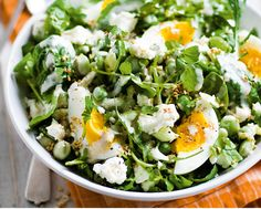 This speedy, delicious salad is an easy dinner idea for two, combining broad beans, feta and soft-boiled eggs with perfectly molten yolks, all offset by a velvety tahini sauce.