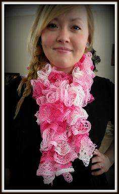 Breast Cancer Awarness curly scarf PINK. $15.00, via Etsy.