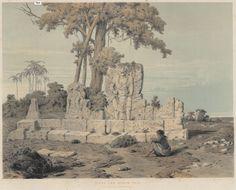 Litho 1852 : Modjopahit ruins, East Java.