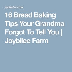16 Bread Baking Tips Your Grandma Forgot To Tell You   Joybilee Farm