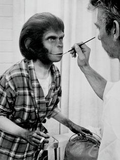 Kim Hunter being made up as Zira in PLANET OF THE APES 1968
