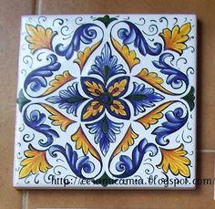 Piastrelle di ceramica decorate a mano #Italy http://ceramicamia.blogspot.it/2011/11/piastrelle-di-ceramica-decorate-mano.html#