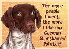 German Shorthair Pointer Dog Sign Wall Plaque Magnet Velcro 5x7 - More People I Meet