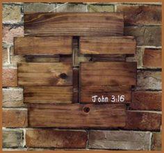 Rustic wooden cross wall hanging