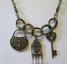 Bronze charm necklace