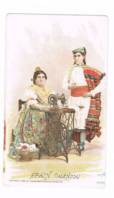 Singer Manufacturing Co. Sewing Machine SPAIN Valencia Victorian Trade Card 1892 #SingerSewingMachine