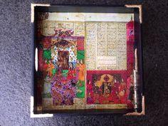 Decoupage tray with iranian poem , haft peikar , nezami