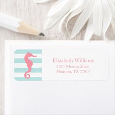 Shop White Pink Mint Stripes Seahorse Label created by heartlocked. Kids Stationery, Personalized Stationery, Nautical Stripes, Wide Stripes, Preppy Kids, White Shop, Wedding Color Schemes, Office Gifts, Customized Gifts