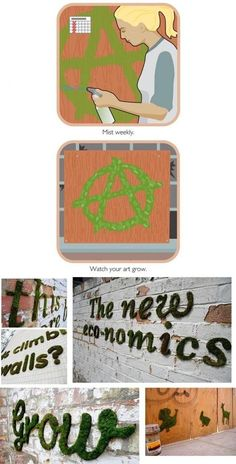 Moss graffiti DIY gardening - I would like to do this on my chimney!
