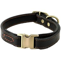 wangstar Luxury Real Leather Dog Collar Heavy Duty Buckle Dog Leather Collar for Small Medium Large Dogs Stylish Design with Strong Quick Release Brass Buckle L BLACK -- You can find out more details at the link of the image.