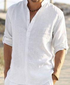 Linen Casual Hawaii Roll up Shirt