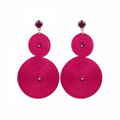 Lacrom Store || Claudia Baldazzi, Accessories, Classic Spiral Earrings  Earrings in silk string and golden brass details, Fuchsia Swarovski elements and pins.