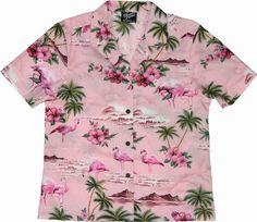 Flamingo Hibiscus Womens Hawaiian Shirts - Hawaiian Shirts - Aloha Shirt - Hawaiian Clothing - 100% Cotton Pink Medium RJC,http://www.amazon.com/dp/B00CCRW75A/ref=cm_sw_r_pi_dp_yQl1sb1GTA4XKXYJ