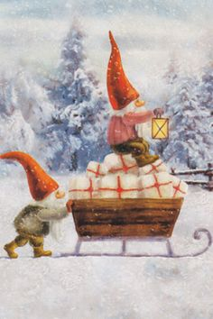 paintings gnomes in winter Christmas Makes, Christmas Gnome, Christmas Art, Yule, David The Gnome, Illustrator, Christmas Wonderland, Theme Noel, Holiday Postcards