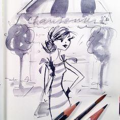 A messy little shoe shopping sketch. #mccafferyink #sketch #illustration #fashion