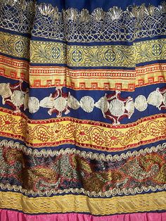 Czech Bohemia Folk Costume Blue Pleated Embroidered Ribbon Skirt fabric