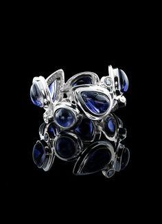Iolite & Diamond Sterling Mosaic Band