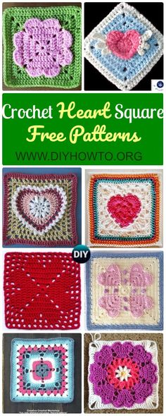 A Collection of Crochet Heart Granny Square Free Patterns & Tutorials: Crochet Angel Heart, 4 Hearts Granny, Cornered Hearts Square, Heart Mandala Square