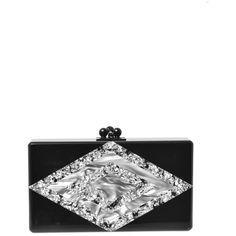 EDIE PARKER Jean diamond box clutch (35 235 UAH) ❤ liked on Polyvore featuring bags, handbags, clutches, purses, black silver, handbag purse, hardcase clutch, glitter clutches, silver metallic handbags and clasp handbag