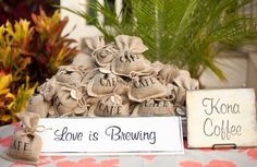 beige, burlap, take-home treats, eco friendly, nautical, paisley, Spring, Summer, diy, Maui, Hawaii