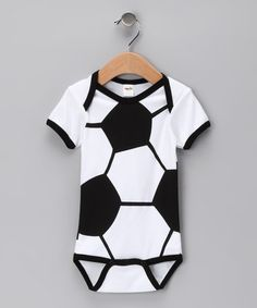 Take a look at this Black & White Soccer Ball Bodysuit by Babyball Clothing on #zulily today!  $9.99