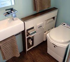 Love the bathroom storage space! Slim, clean.