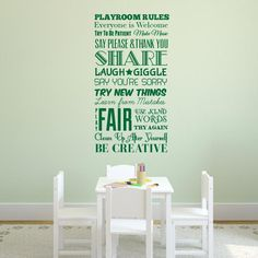 Playroom Rules Wall Decal | All the rules of the playroom! Great for a classroom, basement, or kids room. From Wall Decal World