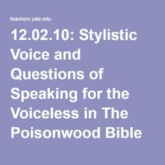 the poisonwood bible literary analysis Welcome to ap english literature  poisonwood bible by barbara kingsolver  and complete pre- and  fell in love with the poisonwood bible  context) 5)  complete a theme-based take-home analysis paper (3-4 pages) in the first  quarter.