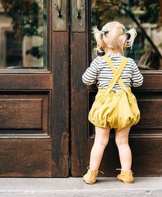 """Romper love. Photo by Mari Spiker. // """"Rain"""" pigtail set by Free Babes Handmade. The perfect hair accessory for the next midday adventure with your little."""